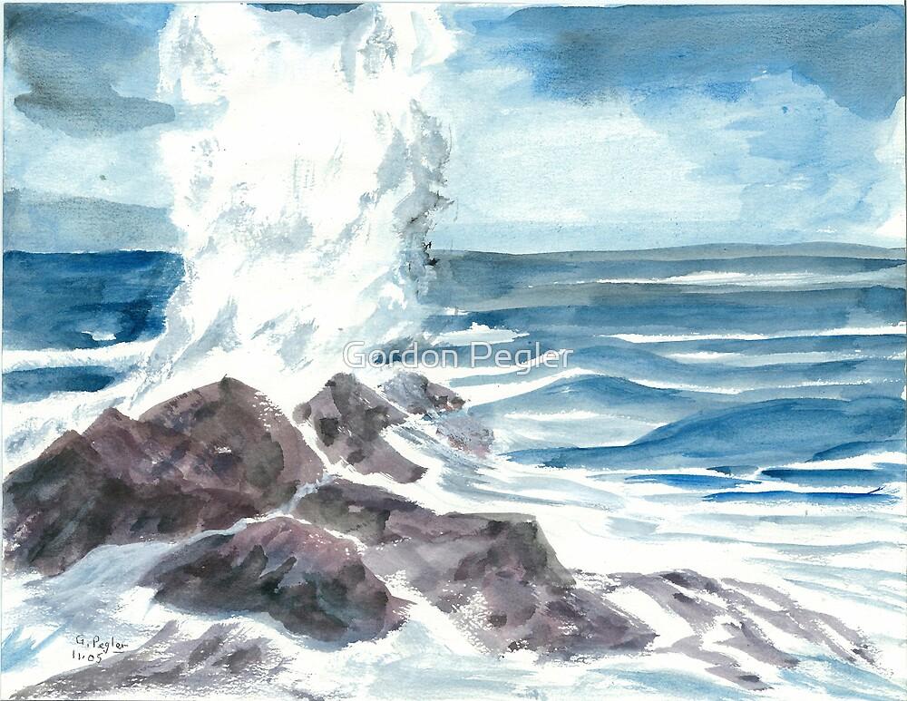 Ocean Breaker - Water Colors by Gordon Pegler
