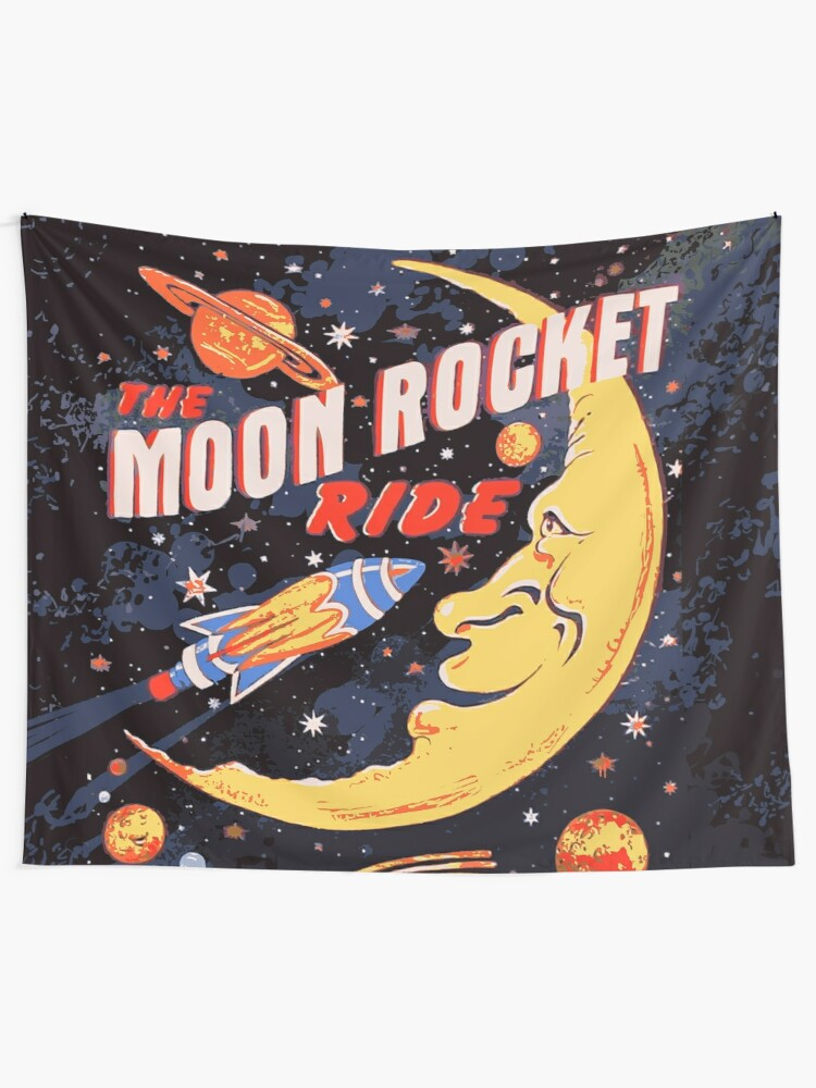 Alternate view of Rocket Moon Ride (vintage) Tapestry