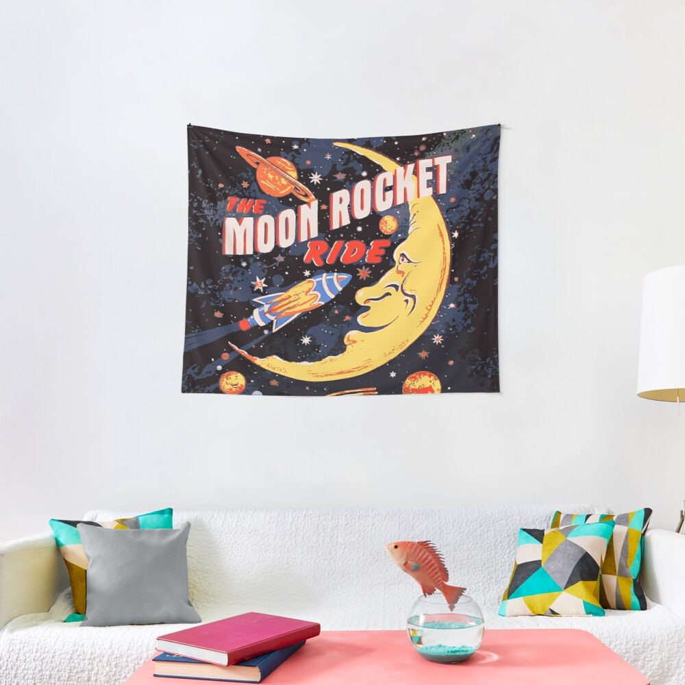Rocket Moon Ride (vintage) Tapestry