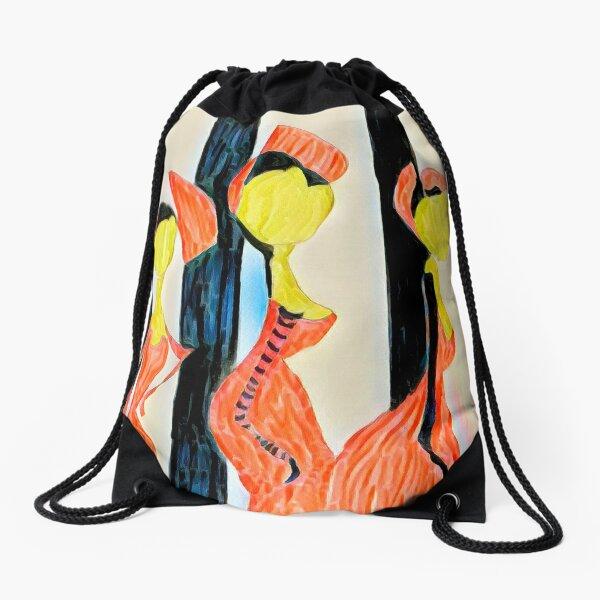 Sisters in Orange Drawstring Bag