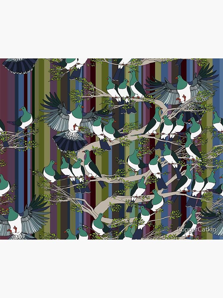Kereru on retro stripe by CopperCatkin