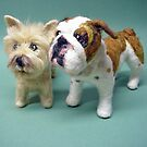 Needle Felted Wool Portrait of Boz the English Bulldog and Tilly the Cairn Terrier by Amelia  Santiago