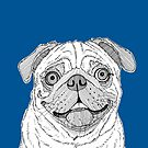 Pug Dog Portrait by Adam Regester