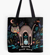 Floral and Cat at night Tote Bag