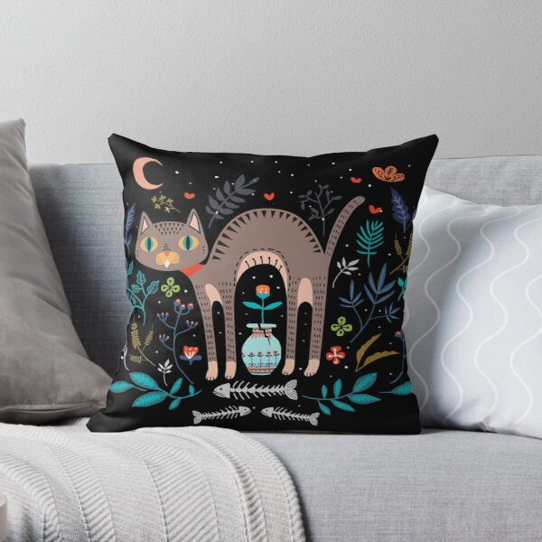 Floral and Cat at night Throw Pillow