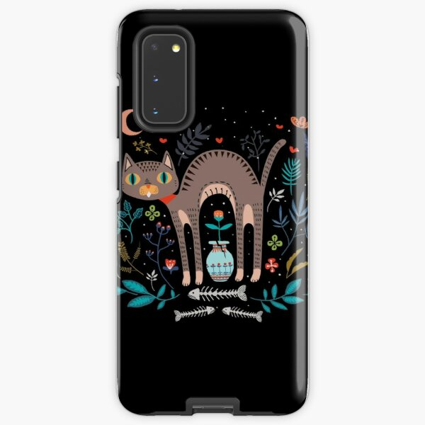 Floral and Cat at night Samsung Galaxy Tough Case