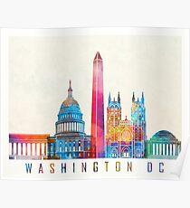 Washington DC landmarks watercolor poster Poster