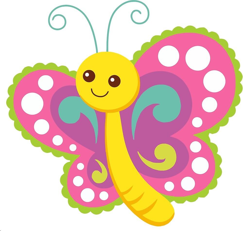 Dessin Papillon En Couleur dessin animé mignon papillon sourire art couleur » par greengoodnich