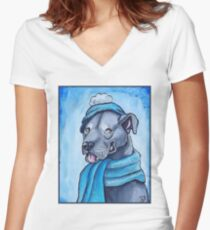 Pit Bull 1 Women's Fitted V-Neck T-Shirt