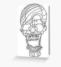 Candy Striped Skull in Ink Greeting Card