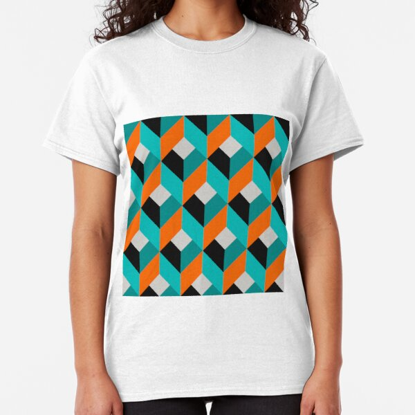 Geometric Pattern: Box: Blue Classic T-Shirt