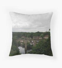 Knaresborough / River Nidd / Railway Bridge Throw Pillow