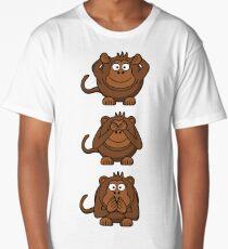 Cartoon Monkey Hears, Sees, Speaks No Evil! Long T-Shirt