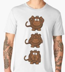Cartoon Monkey Hears, Sees, Speaks No Evil! Men's Premium T-Shirt