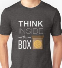 Think Inside the Box. Think Pizza. Slim Fit T-Shirt