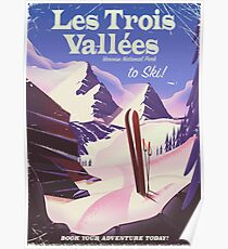 Les Trois Vallées Ski travel poster Poster