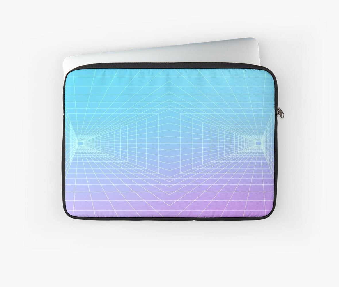 'Vaporwave 3D grid | 80s / 90s' Laptop Sleeve by LTTT