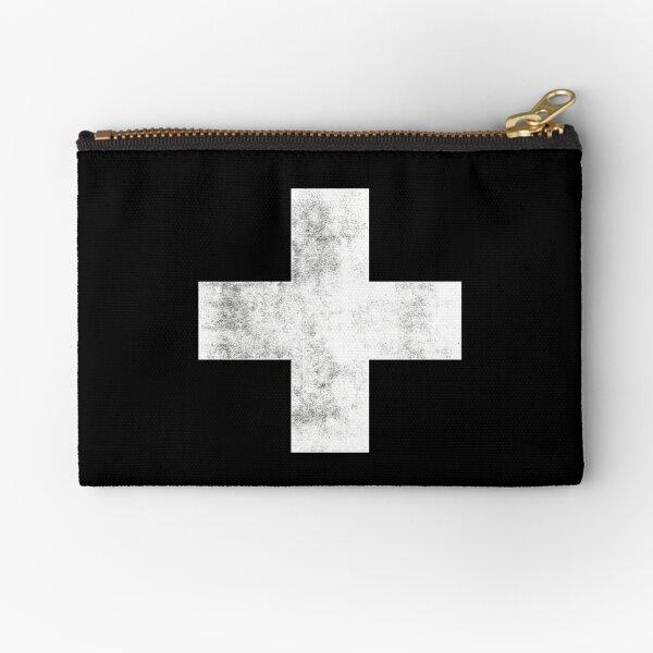 Black and White Swiss Cross Zipper Pouch