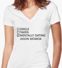 Mentally dating - Jason Momoa Women's Fitted V-Neck T-Shirt