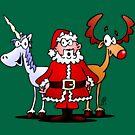 Weihnachtsmann, Rentier, Einhorn von cardvibes