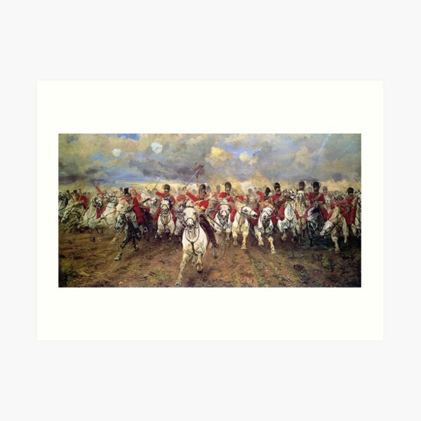 Scotland Forever! 1881, Battle of Waterloo, Lady Butler, Charge of the Royal Scots Greys. Art Print
