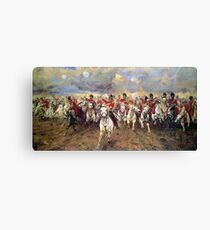 Scotland Forever! 1881, Battle of Waterloo, Lady Butler, Charge of the Royal Scots Greys Canvas Print