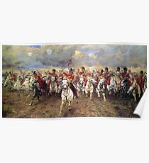 Scotland Forever! 1881, Battle of Waterloo, Lady Butler, Charge of the Royal Scots Greys. Poster