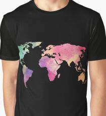 rainbow watercolor continents Graphic T-Shirt