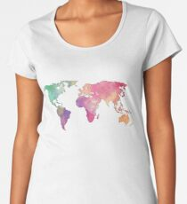 rainbow watercolor continents Women's Premium T-Shirt