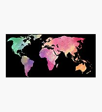 rainbow watercolor continents Photographic Print