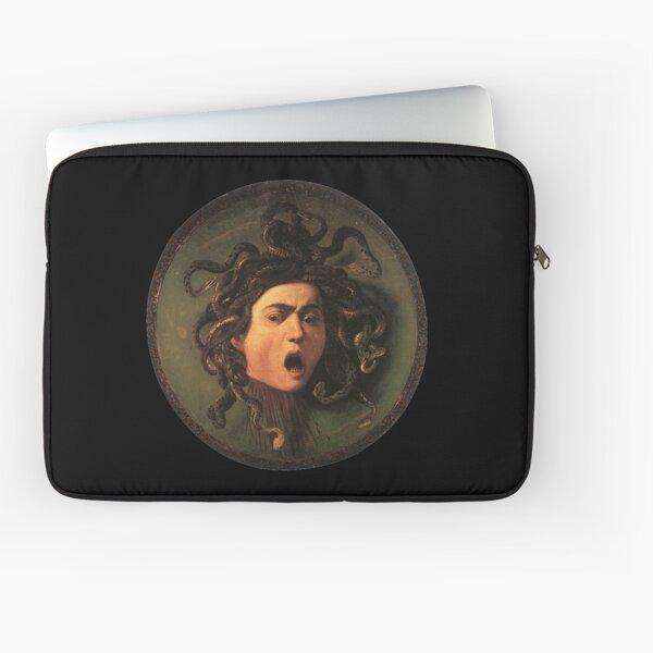 Medusa. Gorgon. Venomous snakes in place of hair. Monster. Greek Mythology. Michelangelo, Caravaggio. on BLACK. Laptop Sleeve