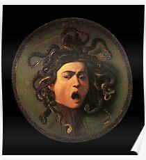 Medusa, venomous snakes in place of hair, Michelangelo, Gorgon, monster, Greek Mythology, Caravaggio, on BLACK. Poster
