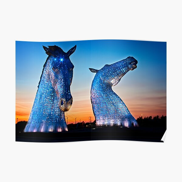 EVENING FALLS ON THE KELPIES Poster