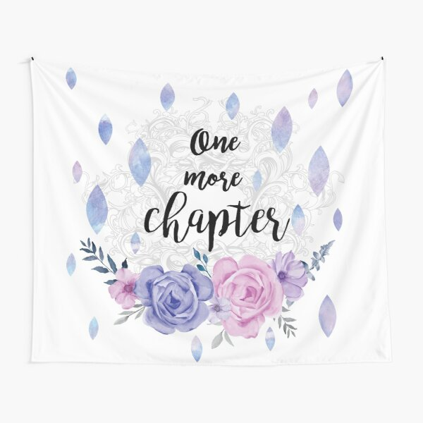One More Chapter - Flower Drops white watercolor illustration Tapestry