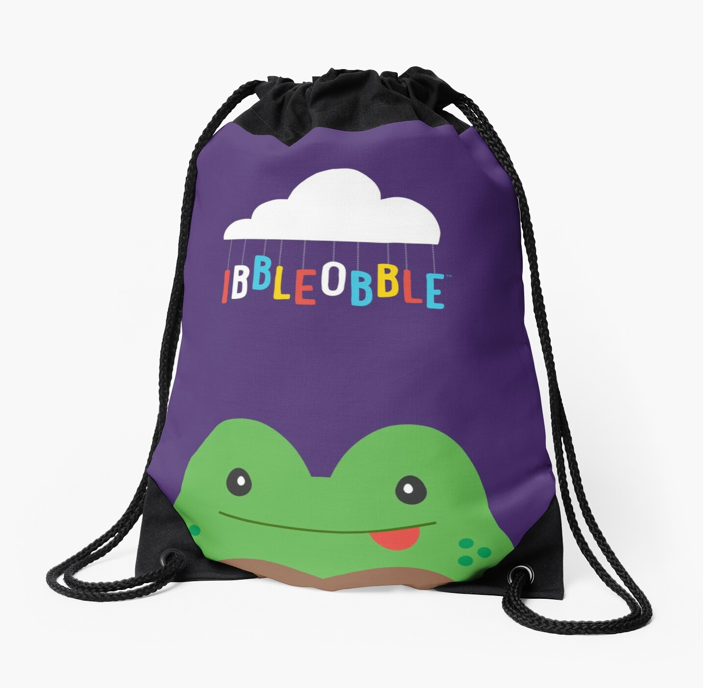 Ibbleobble™  Tom The Frog  Face With Cloud - Drawstring Bag - Purple  by ibbleobble