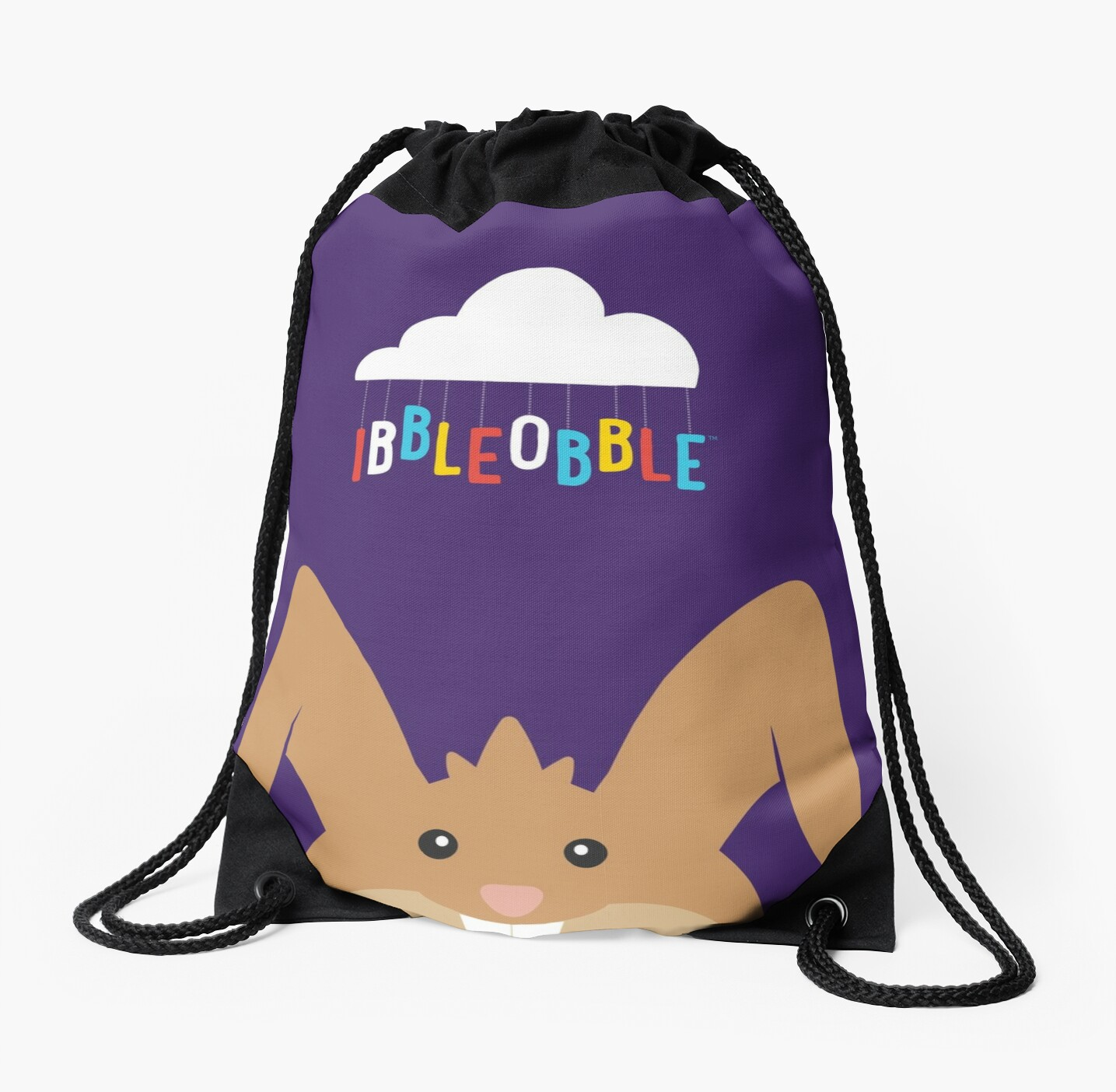 Ibbleobble™ Kelly The Rabbit Face With Cloud - Drawstring Bag - Purple  by ibbleobble