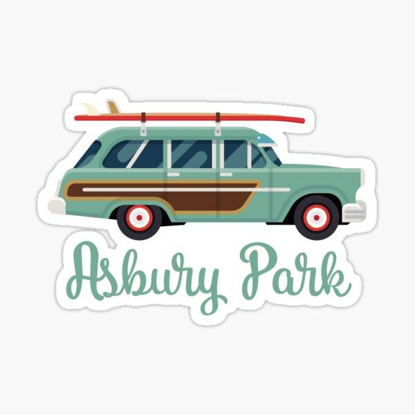 Asbury Park NJ, Retro Surf Wagon Sticker