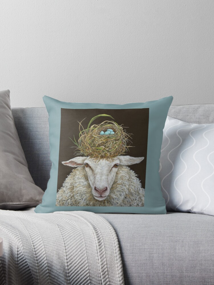 Judith the Sheep with nest by Vicki Sawyer