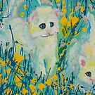Kittens on turquoise background by SelinaScerri