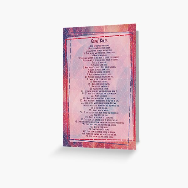 Règles de Gibb NCIS Carte de vœux