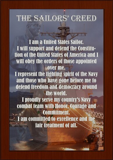 Quot Navy Sailor Creed Poster Quot Poster By Mcdesign Redbubble