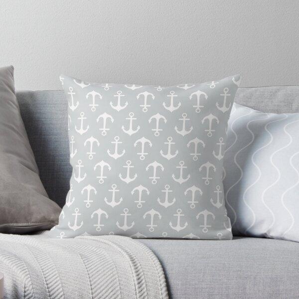 Anchors Aweigh - gray Throw Pillow