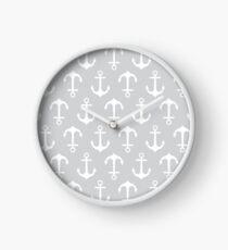 Anchors Aweigh - gray Clock