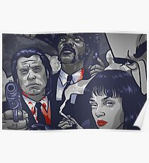 Vincent Vega,Marsellus Wallace, Mia Wallace Poster