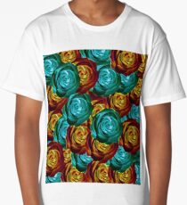 rose texture pattern abstract background in green red and yellow Long T-Shirt