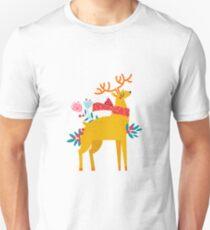 Christmas reindeer in flowers T-Shirt