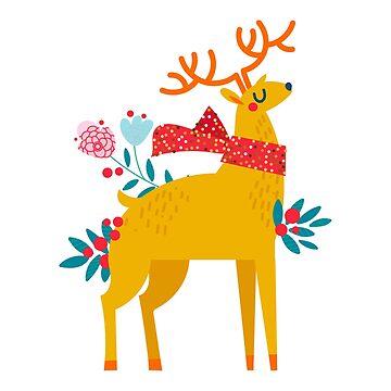 Christmas reindeer in flowers by 1317