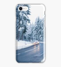 Winter Landscape. Mountain Road Covered by Snow. iPhone Case/Skin