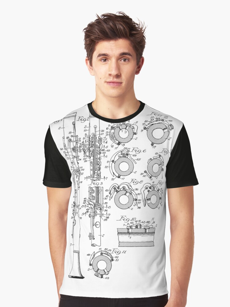 Camisetas grficas camisa de diseo clarinet blueprint vintage camisa de diseo clarinet blueprint vintage marching band tee malvernweather Image collections