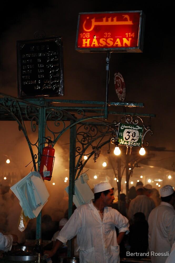 Street restaurant in Marrakesh by Bertrand Roessli
